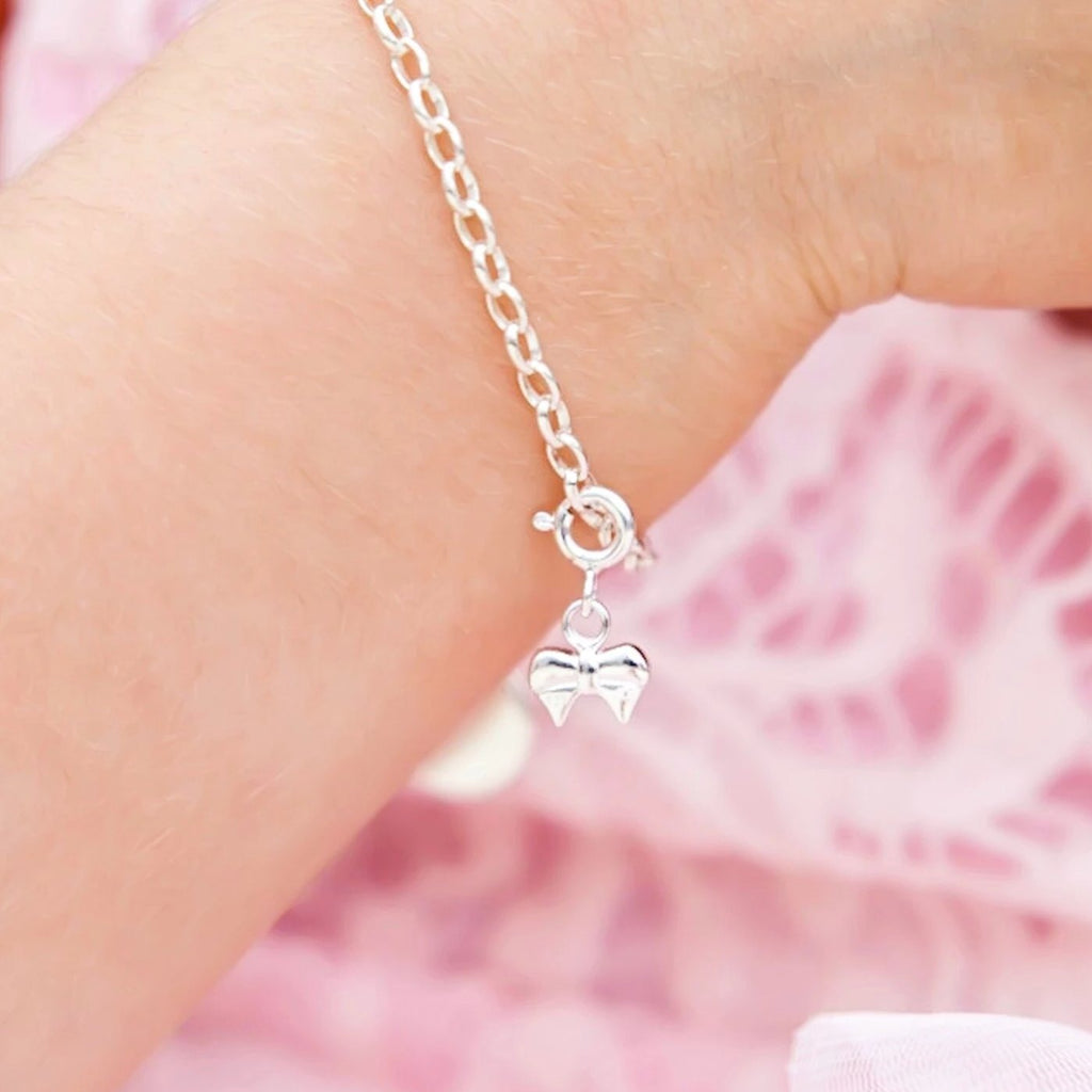 Ribbon Bow Charm - Silver