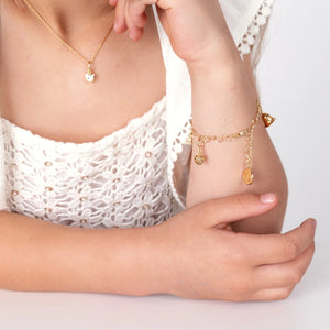 Chain of Hearts Children's Charm Bracelet - Yellow Gold Vermeil