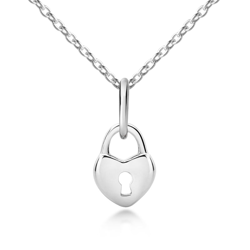 children's Sterling Silver Love Lock Pendant & Necklace