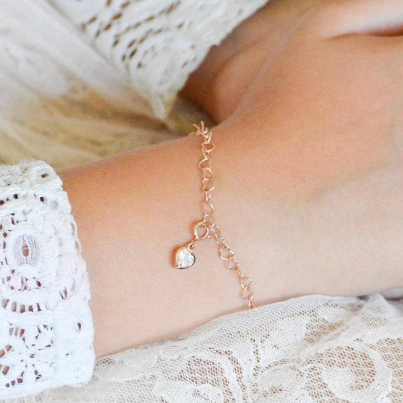 Girl's Heart Charm - Rose Gold Charm on Charm Bracelet