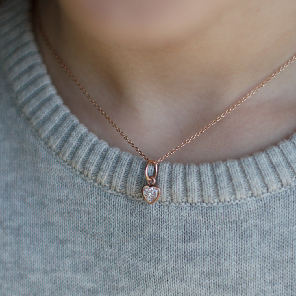 Children's Heart Necklace - Rose Gold
