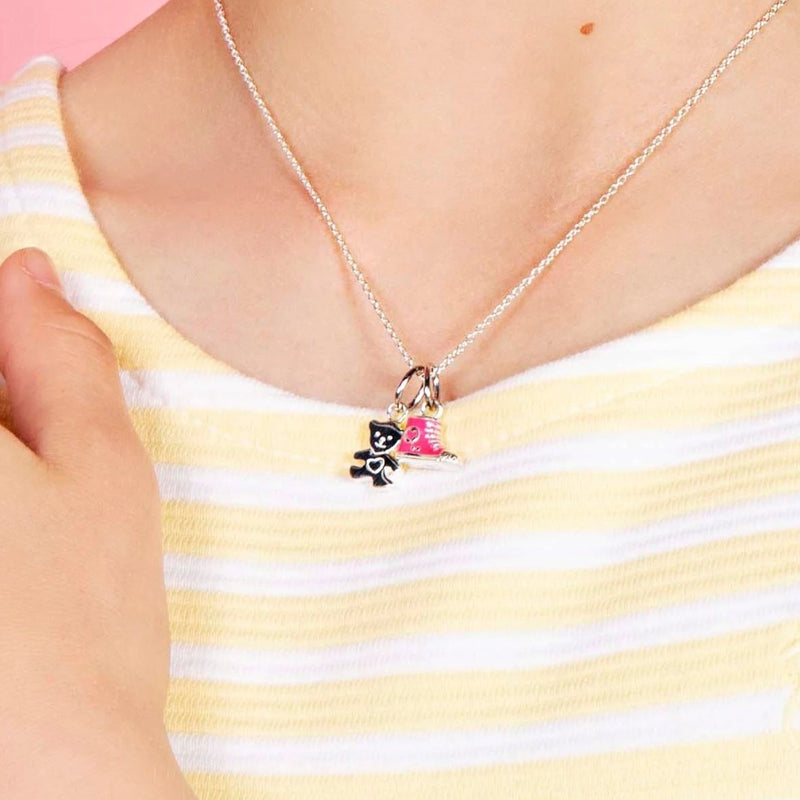Children's teddy Pendant & necklace - sterling silver