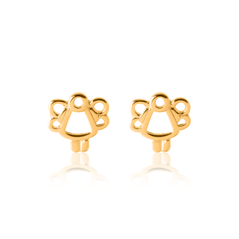 Children's Angel Earrings - Yellow Gold