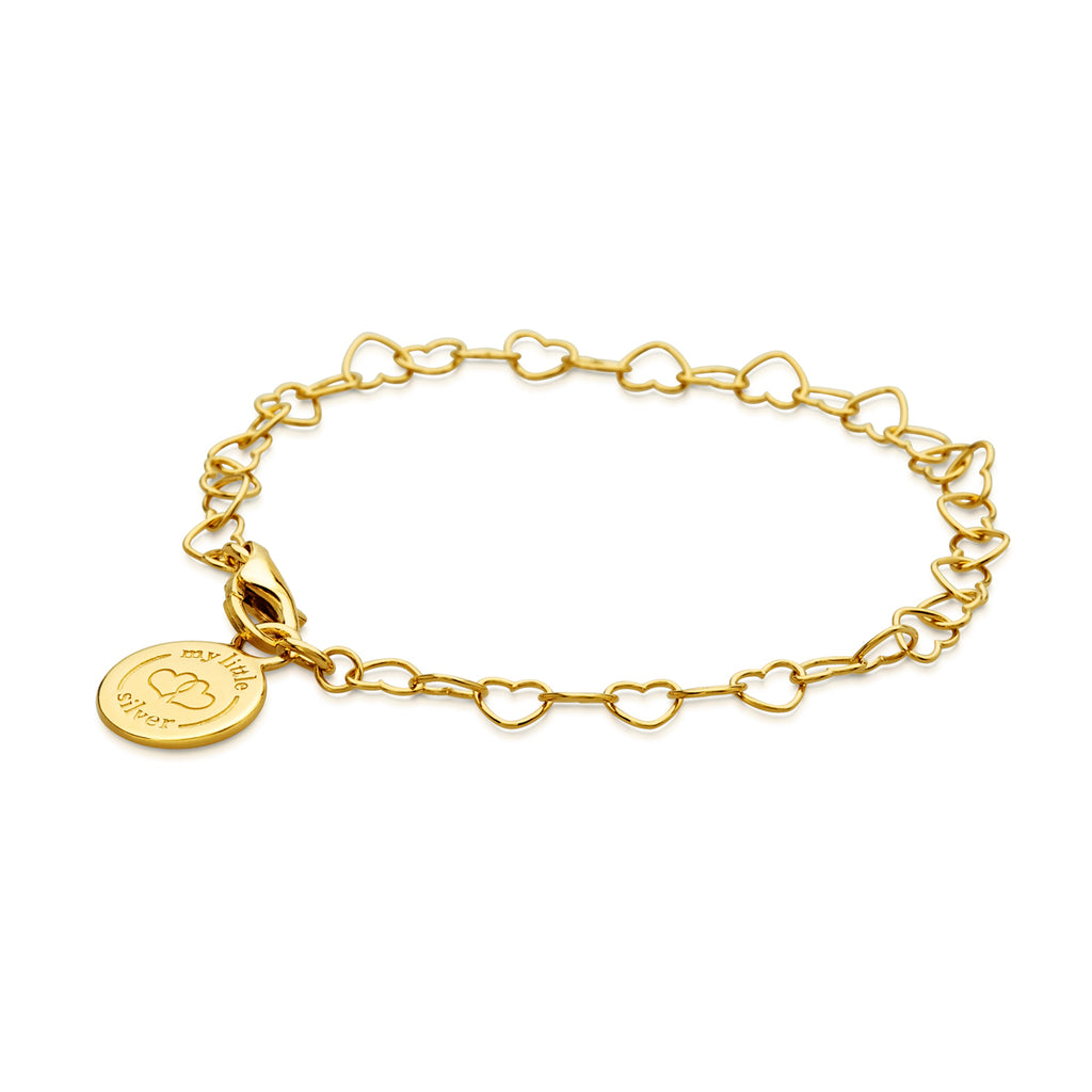 Chain of Hearts Charm Bracelet - Gold