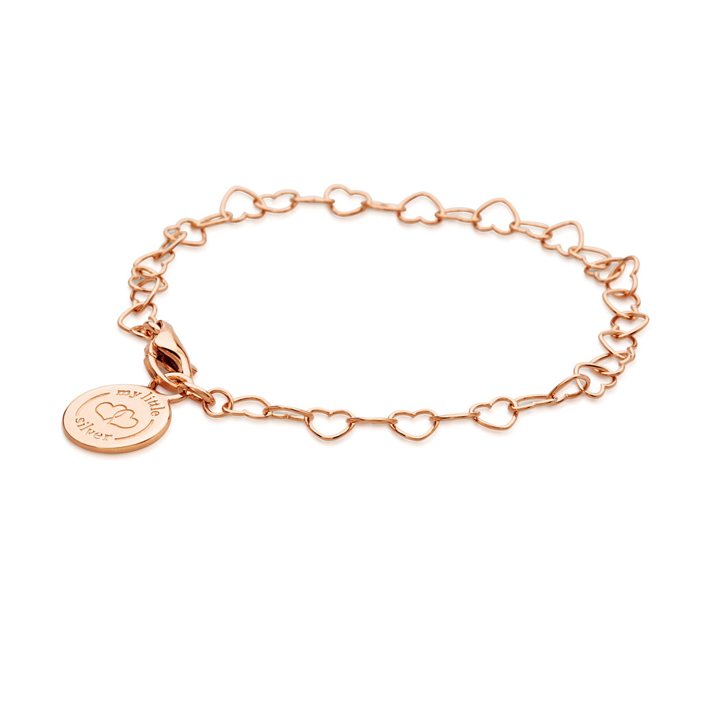 Chain of Hearts Charm Bracelet - Rose Gold