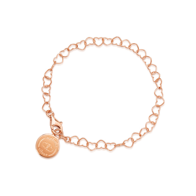 Girl's Charm Bracelet - 18 karat rose gold sterling silver