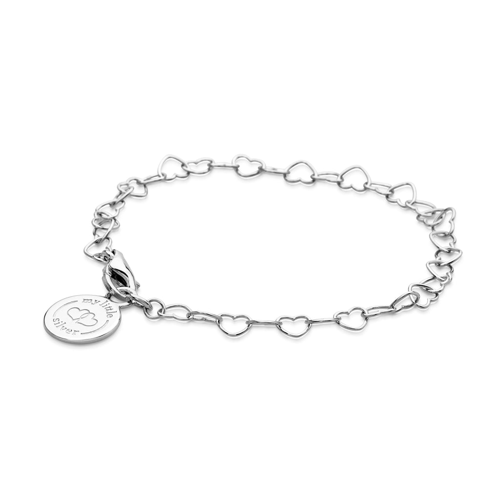 Silver Chain of Hearts charm Bracelet