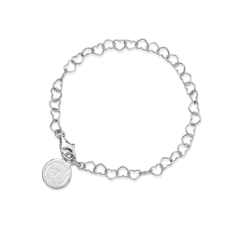 Children's chain of hearts charm bracelet silver