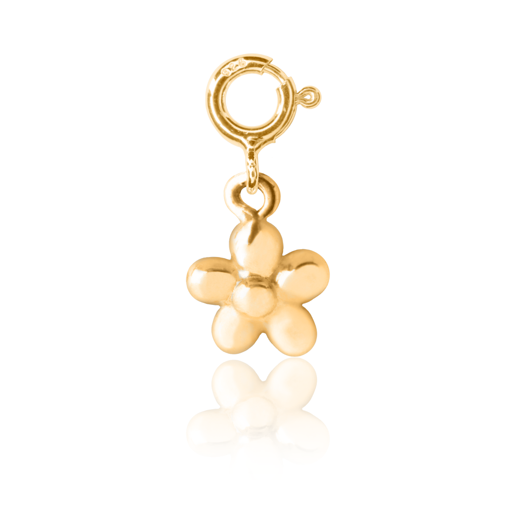 Kid's Flickering Flower Charm Gold