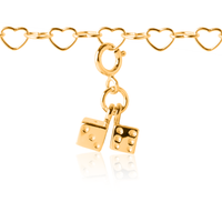 Interchangeable girl's charms - dice charm in gold