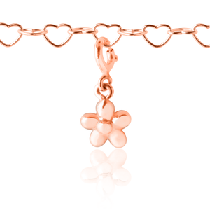 Flower charm and children's charm bracelet -Rose Gold