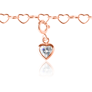 Sparkle Heart Charm Rose Gold