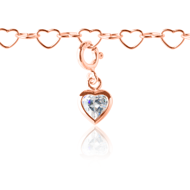 Heart Charm on Rose Gold Heart Charm Bracelet