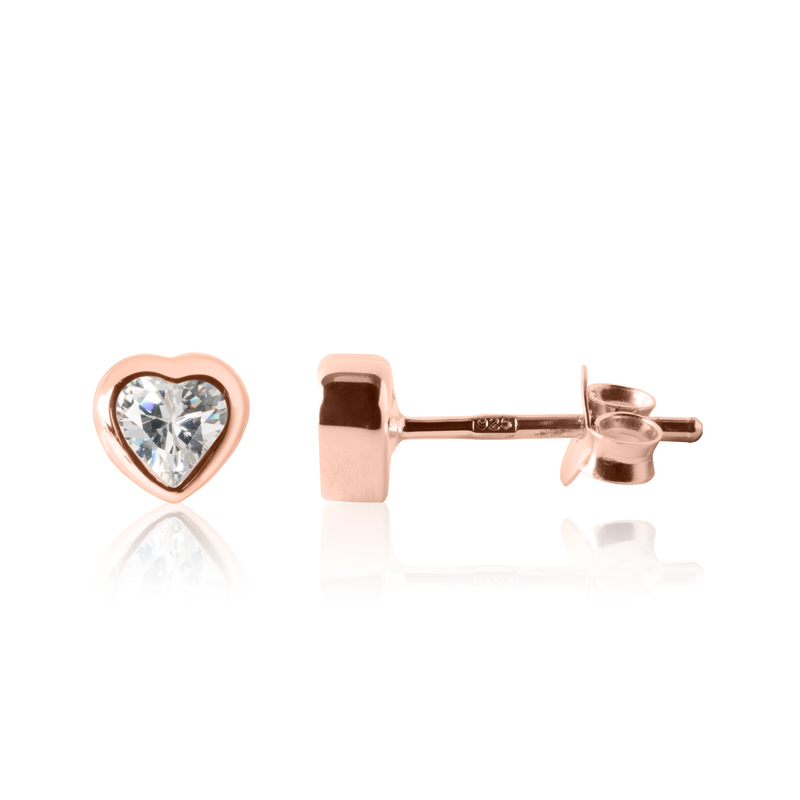 Girl's Heart Earrings Rose Gold - Sparkle heart earrings