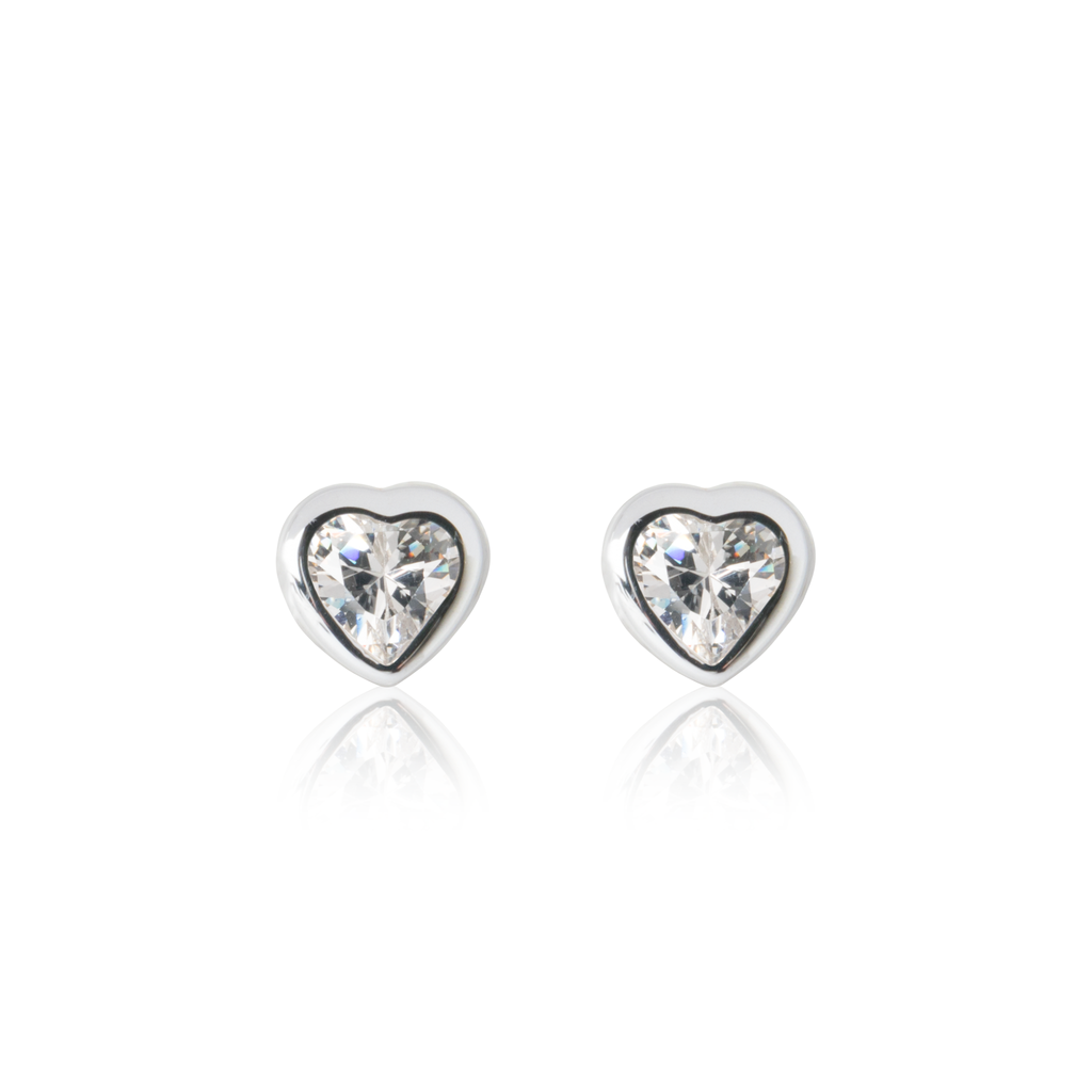 Children's Sparkle Heart Earrings - Sterling Silver