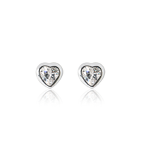 Sparkle Heart Earrings - Silver