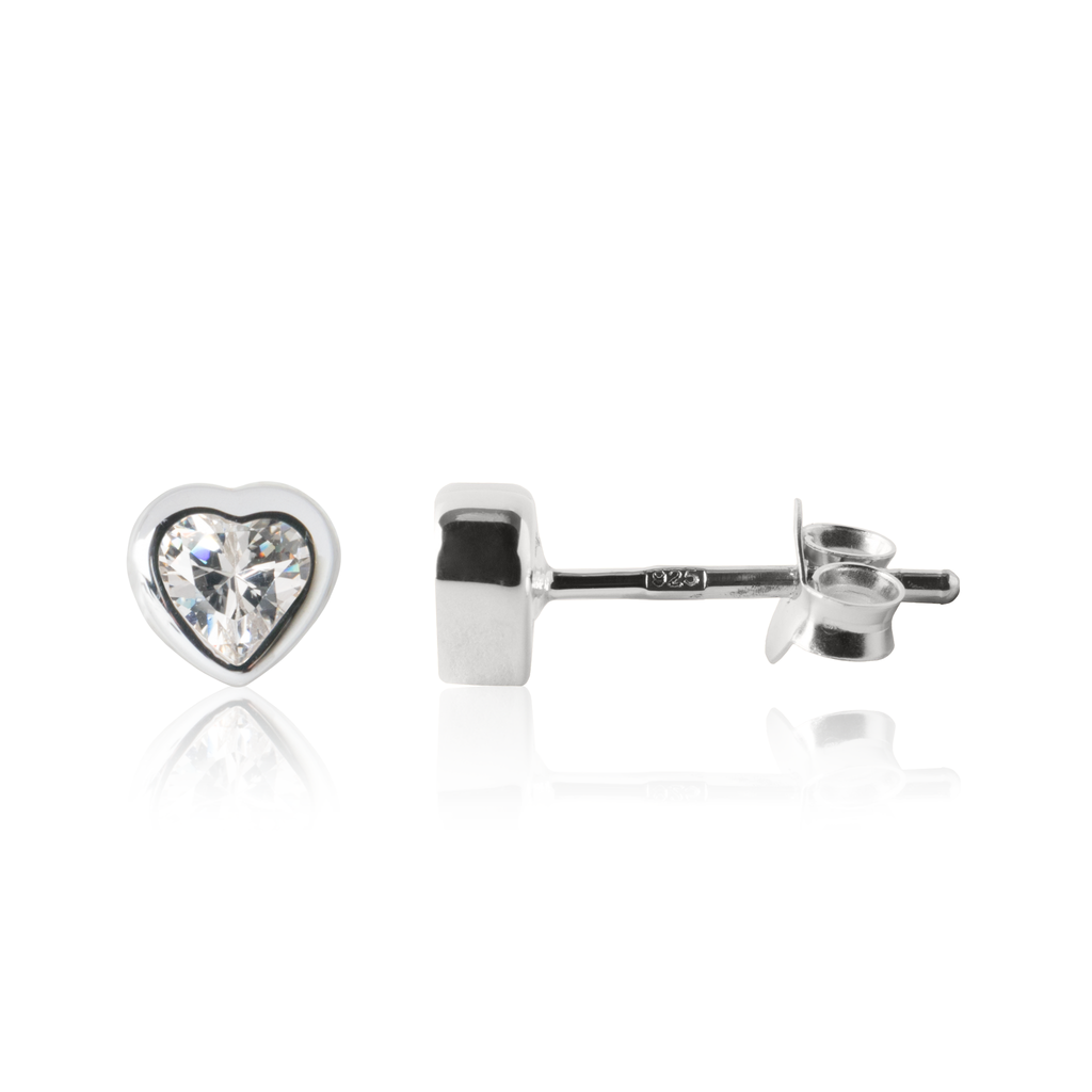 Sparkle Heart Earrings Silver