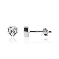 Kid's Sparkle Heart Earrings - Sterling silver Jewellery