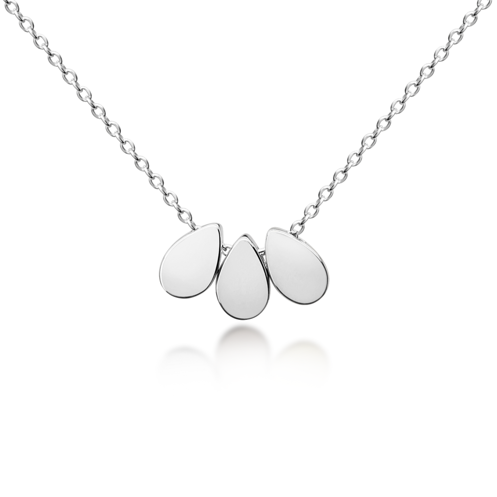 Three Floating Drops Necklace - Sterling Silver NEW