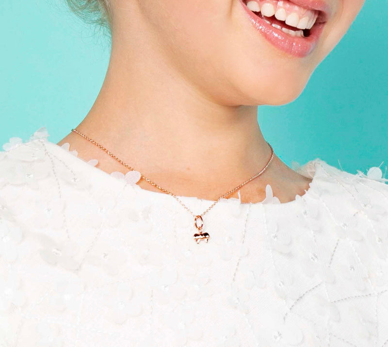 Ribbon Bow Pendant & Necklace - Rose Gold Vermeil