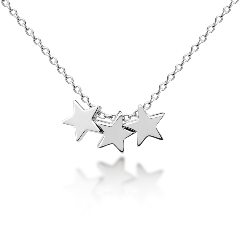 Three Floating Stars Necklace - Sterling Silver NEW