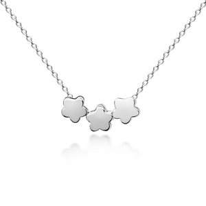 Three Floating Flowers Necklace - Sterling Silver NEW
