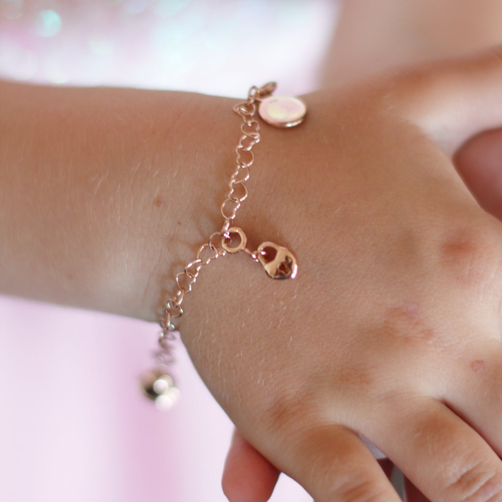 Chain of Hearts Children's Charm Bracelet - Rose Gold