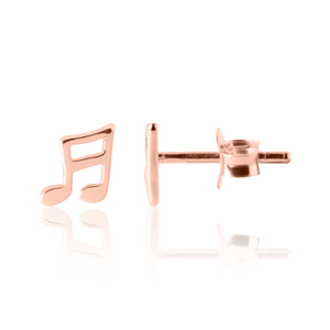 Music Note Earrings Rose Gold