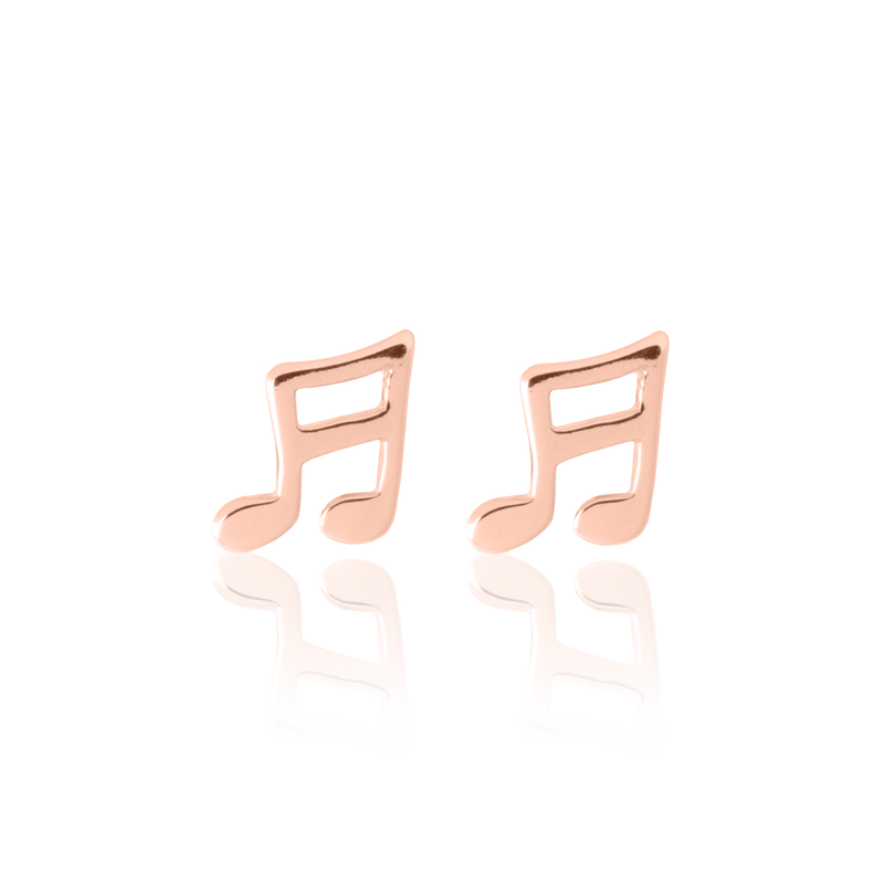 Musical Note Earrings Rose Gold