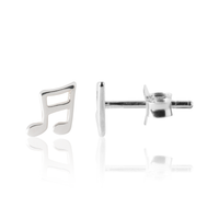 Girl's Earrings in Sterling Silver - Music Note Earrings
