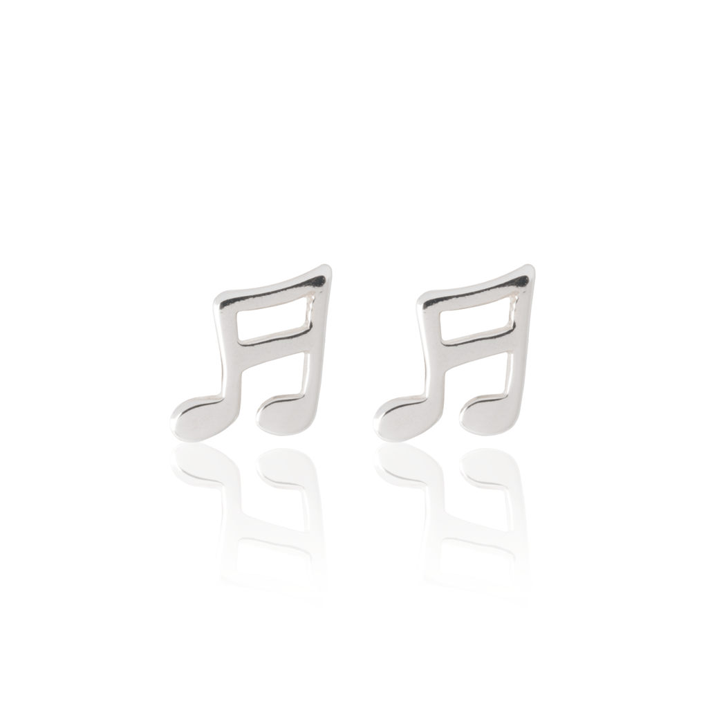 Musical Note Earrings - Silver