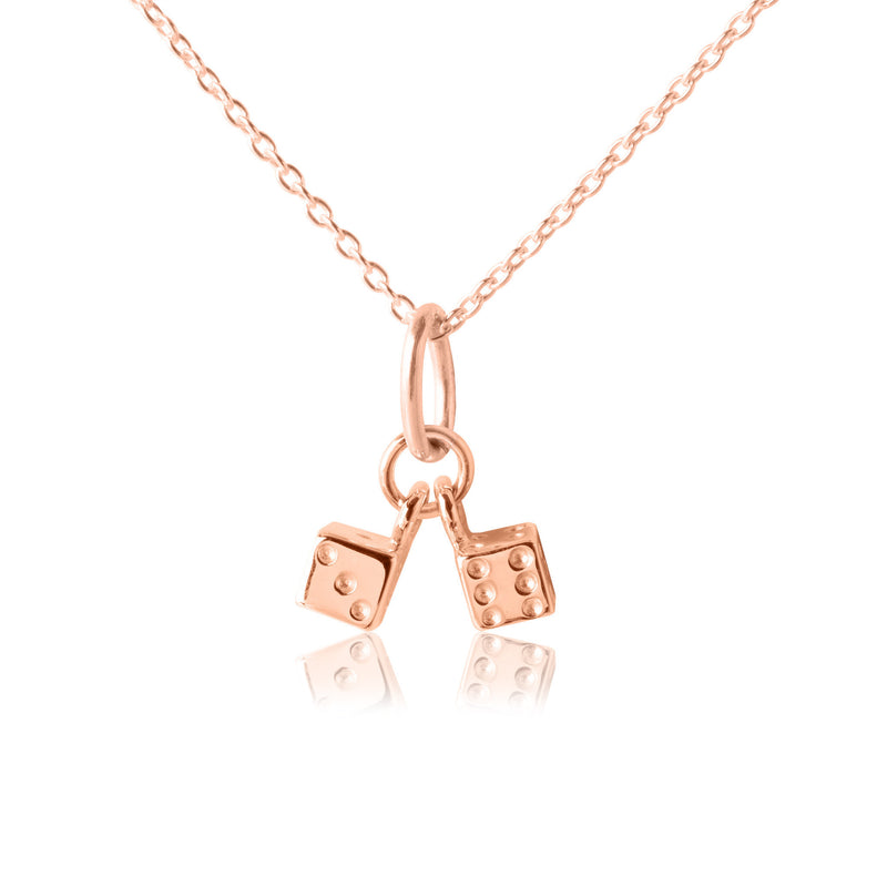 Twinning Dice Pendant & Necklace - Rose Gold