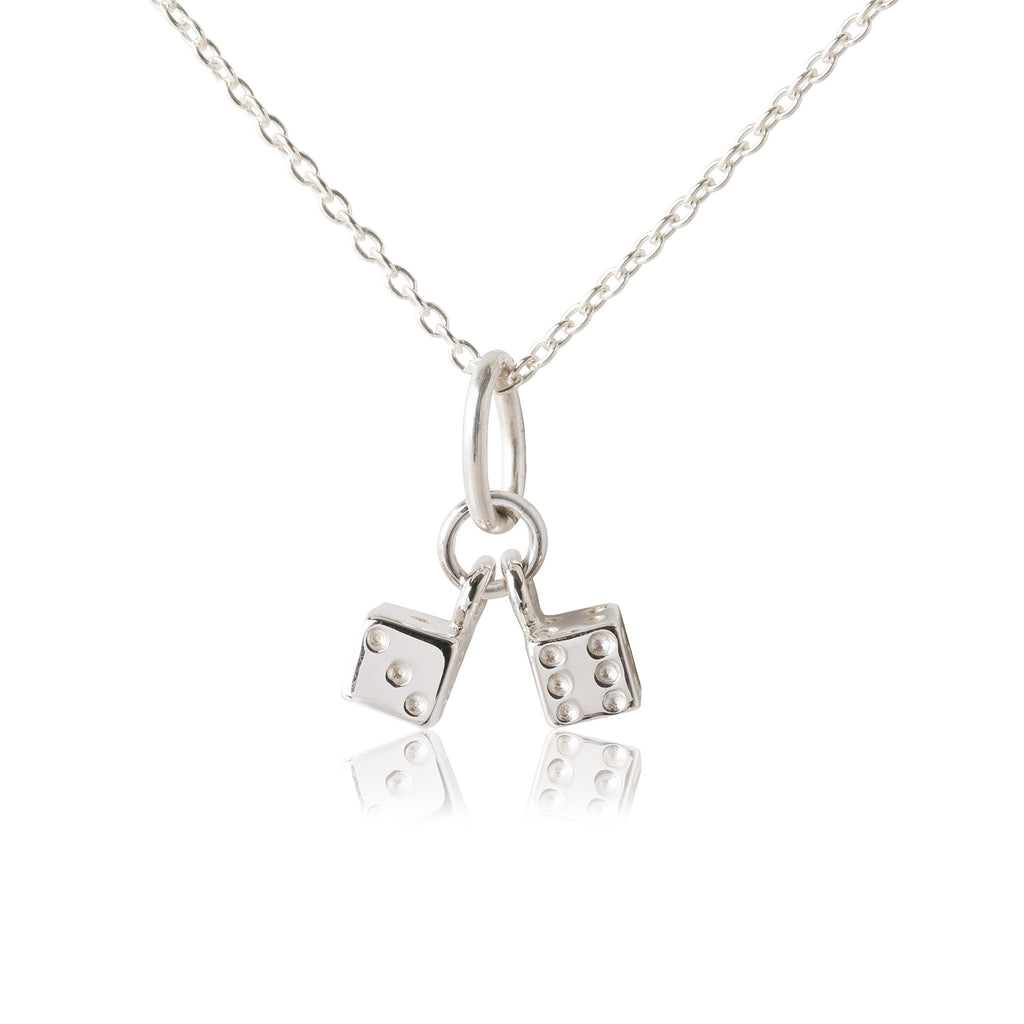 Twinning Dice Pendant & Necklace - Silver