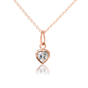Kid's Heart Necklace - Heart Pendant Rose Gold