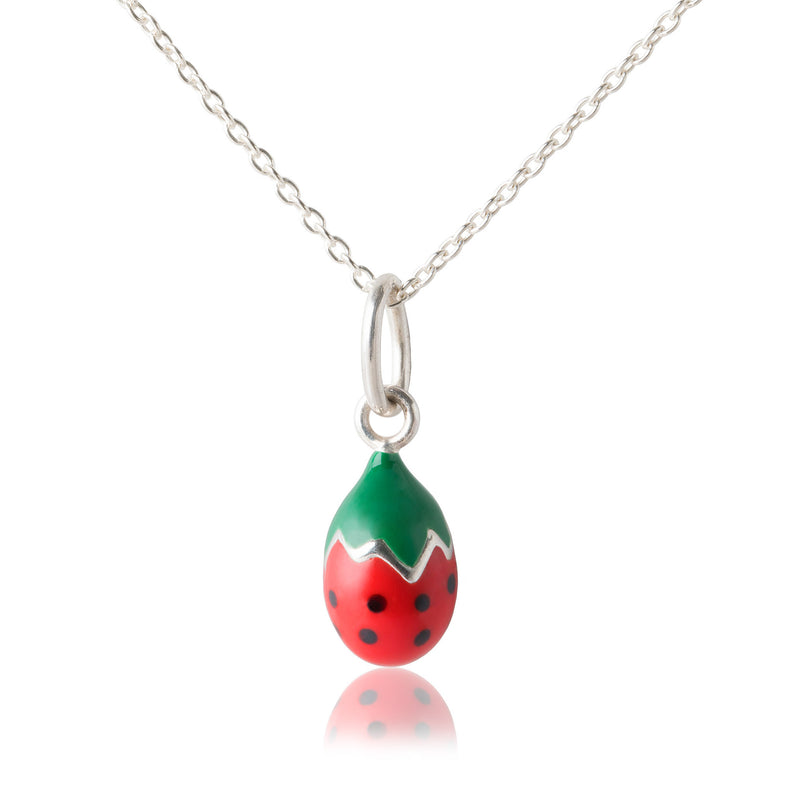 Children's Strawberry Pendant & Adjustable Necklace
