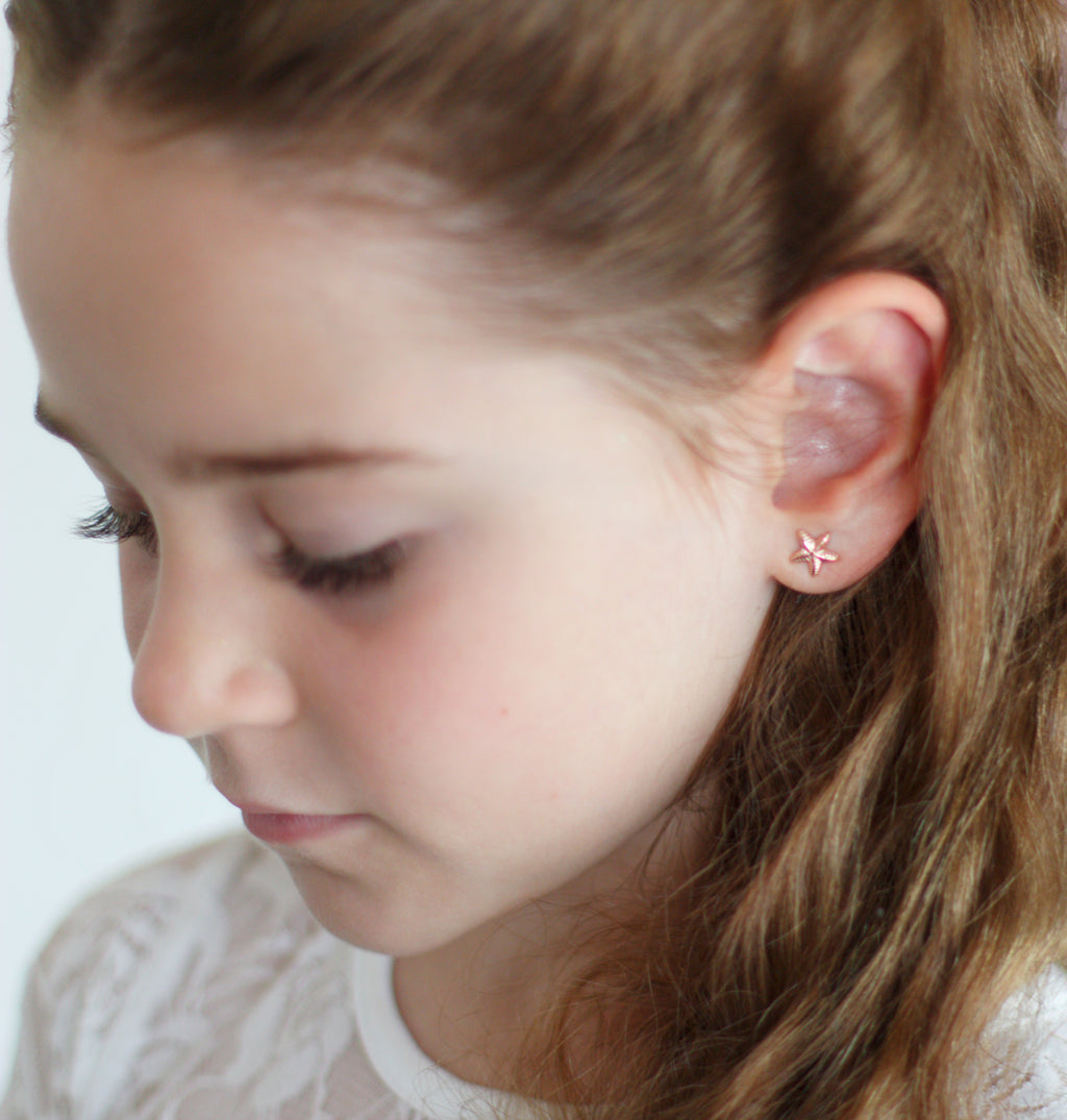 Children's Rose Gold Star Earrings