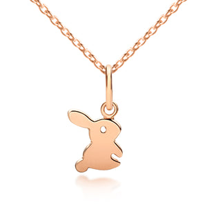 Fluffy Bunny Rabbit Pendant Rose Gold