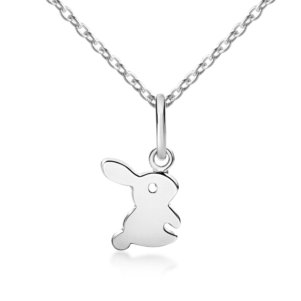 Fluffy Bunny Rabbit Pendant & Necklace - Silver