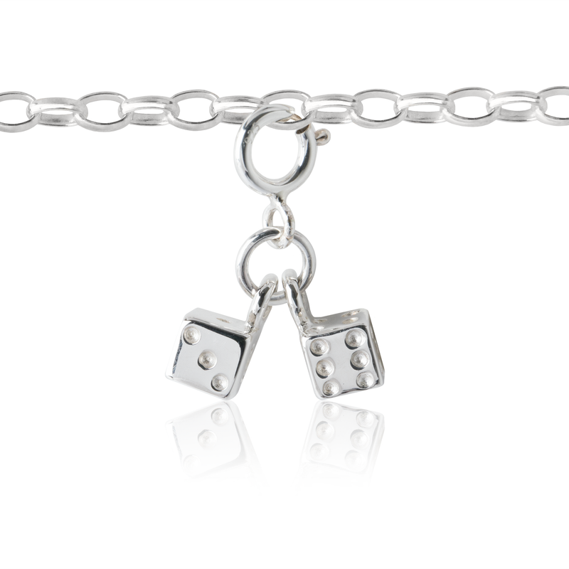 children's dice charm on children's charm bracelet