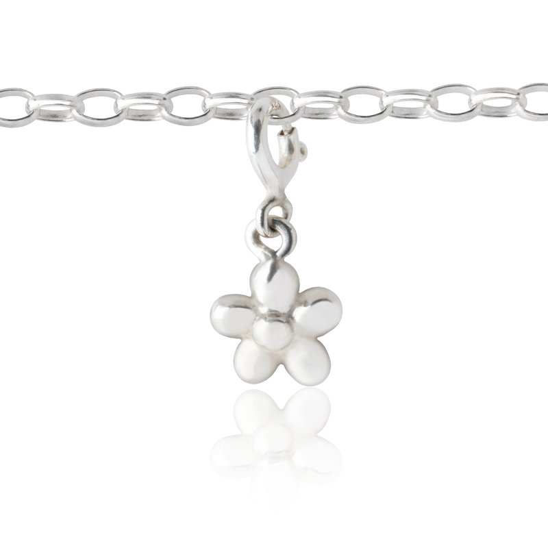 Flickering Flower Charm Silver