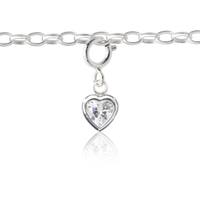 Children's Silver Heart Charm on kid's Charm Bracelet