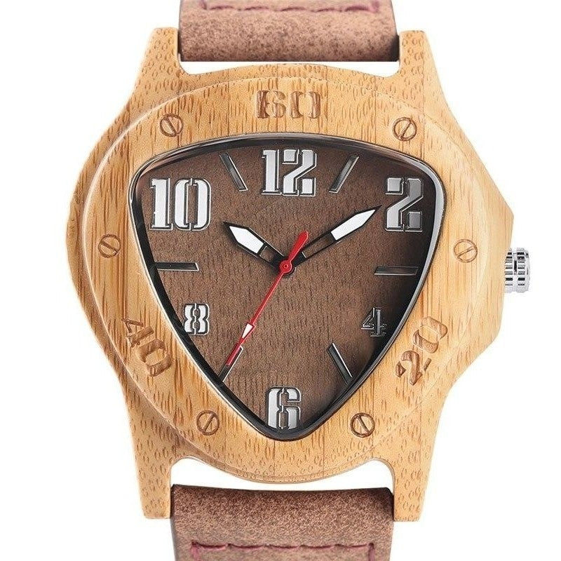 Men Wooden Triangle Watch - Available in Four Different Face Colour Options