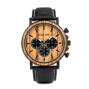BOBO Bird Men's Chronograph Wooden And Steel Watch With Leather Strap