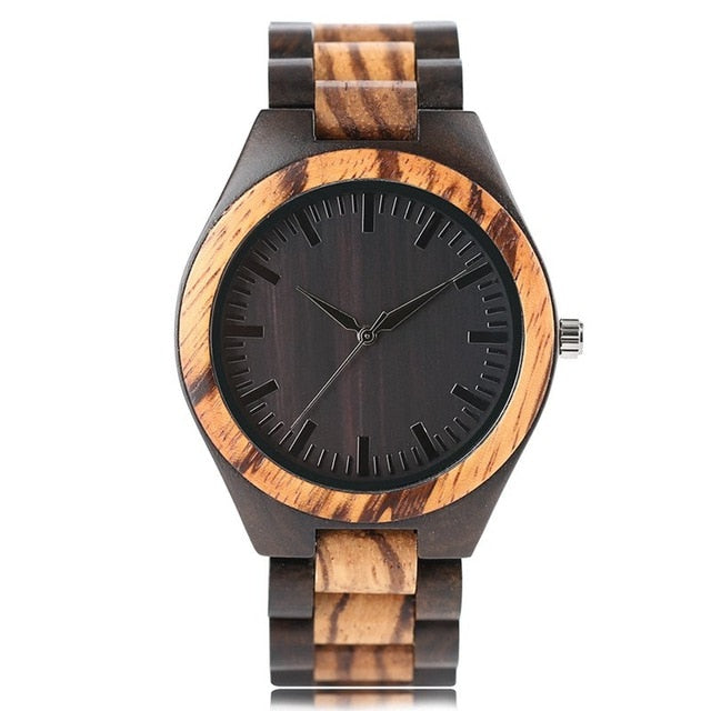 Men's Wooden Watch - Black  Dial face