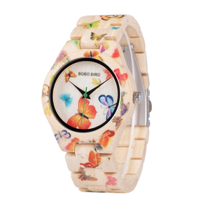 BOBO Bird Ladies Bamboo Butterfly Design Watch