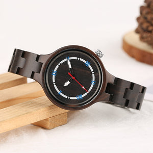 Ladies Full Wooden Watch With Unique Zebra Style Finnish