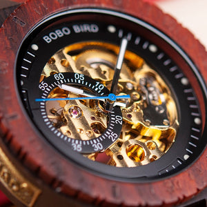 BOBO Bird Men's Wooden Skeleton Watch