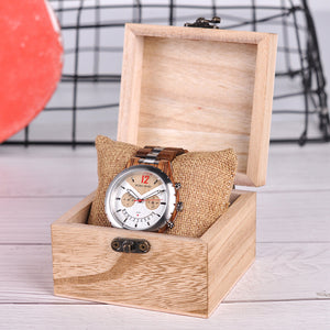 BOBO BIRD Men's Chronograph Water Resistant Wooden And Steel Watch