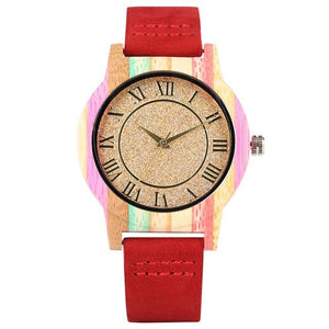 Ladies Wooden Watch - Red  Strap