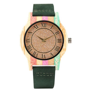 Ladies Wooden Watch - Green Strap